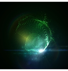 3D illuminated neon digital splash vector