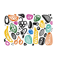 a set different elements in doodle style vector image