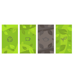 abstract creative background with tea line icons vector image