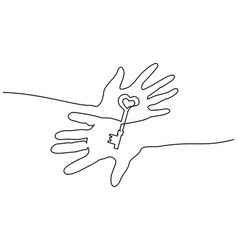 abstract hands holding key continuous one line vector image