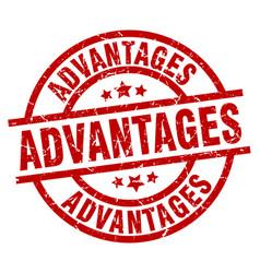 Advantages round red grunge stamp vector