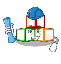 architect toy blocks cube blank cartoon wooden vector image
