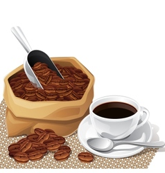 Background with cup and bag of coffee beans vector