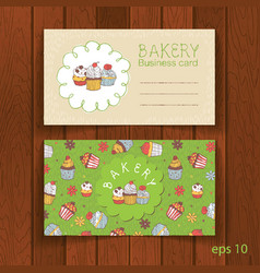 Bakery business card with cupcakes vector