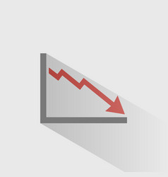 bankruptcy chart icon with shade on grey vector image