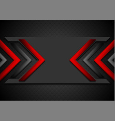 black and red abstract tech background with glossy vector image