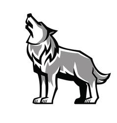 Black wolf howl emblem vector