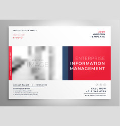 brochure presentation design template in red color vector image
