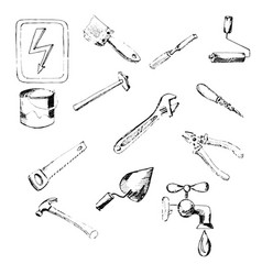 Building tool icons hand-drawn pencil sketch vector