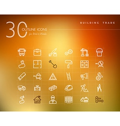 Building trade outline icons set vector image