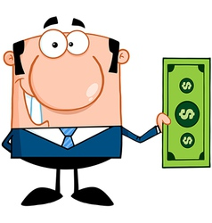 Business Man Holding A Dollar Bill vector image