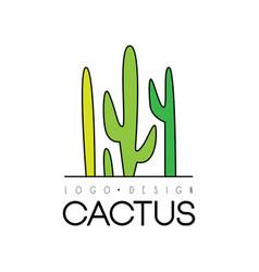 Cactus creative logo design desert plant green vector