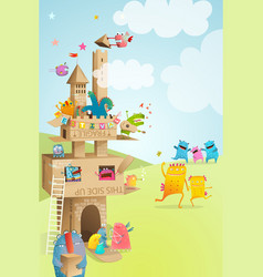 cardboard paper castle kids summer festival play vector image