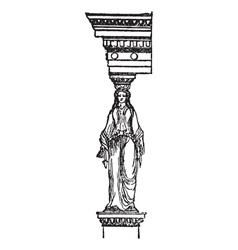 Cariatide vintage engraving vector image