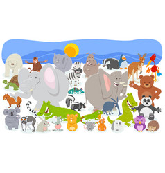 cartoon animal characters crowd background vector image