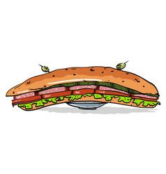 Cartoon image of huge sandwich vector