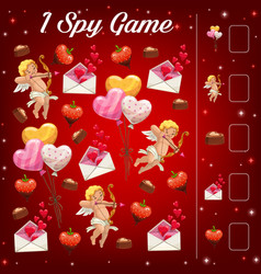 Child saint valentine day i spy counting game vector