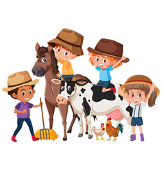 children with farm animals vector image