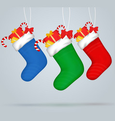 christmas socks set of festive decorations with vector image