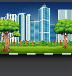 city park landscape with road and cityscape vector image
