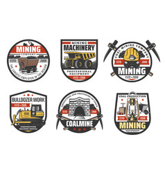 Coal mine mining industry icons vector