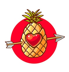 colorful pineapple with heart and arrow o vector image