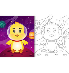 Coloring book for kids with a cute chick vector