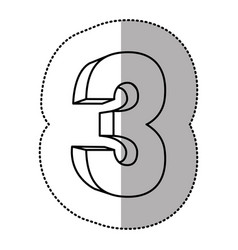 contour number three icon vector image
