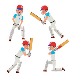cricket player male cricket team vector image