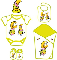 Cute Baby Layette with cute caterpillar and vector