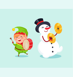 Cute elf playing on drum snowman with cymbal music vector