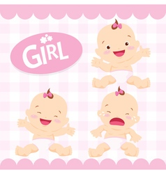 Cute girl sitting in a diaper vector image