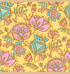 cute pale color folklore floral seamless pattern vector image