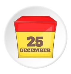 December 25 calendar icon cartoon style vector image