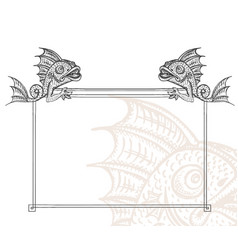 detailed medieval decorative frame as vintage vector image