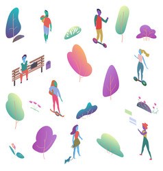 different isomeric 2d flat people in public park vector image