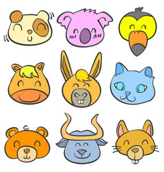 Doodle of animal colorful cute style art vector