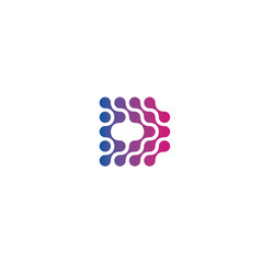 dotted letter d abstract style logo vector image