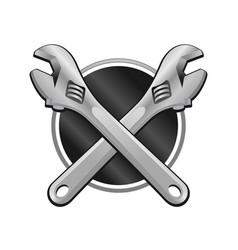 Double wrench cross garage emblem vector