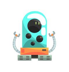 Ffunny cartoon robot crawler character with glass vector