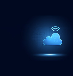 Futuristic blue cloud with wireless signal vector