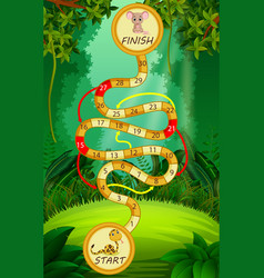 Game template with snake and mouse in forest vector