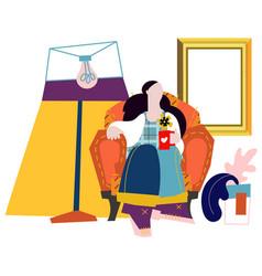 Girl on sofa flat cartoon vector