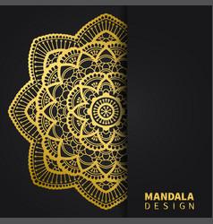 golden mandala design ethnic round ornament hand vector image