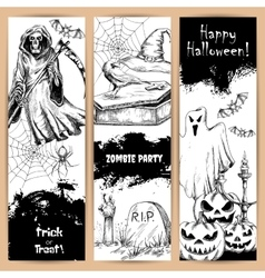 Halloween posters with sketched black elements vector