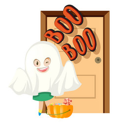 Halloween theme with trick or treat at door vector