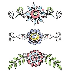 Hand draw flowers with decorative leafs and lines vector