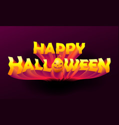 happy halloween text lettering on dark background vector image