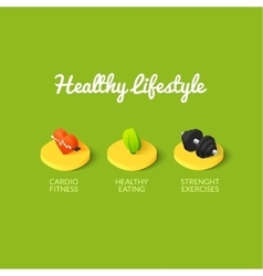 Healthy lifestyle icons vector