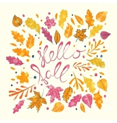 Hello Fall hand lettering vector